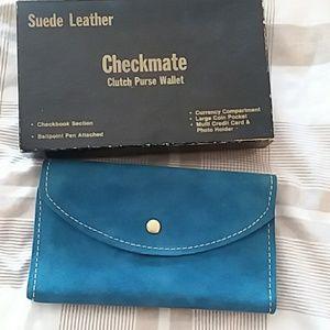 Handbags - Vintage blue suede leather clutch purse wallet